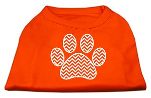 Chevron Paw Screen Print Shirt Orange XS (8)