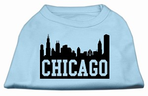 Chicago Skyline Screen Print Shirt Baby Blue Lg (14)