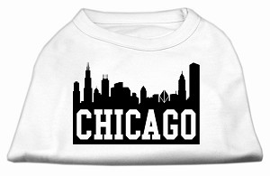Chicago Skyline Screen Print Shirt White Sm (10)