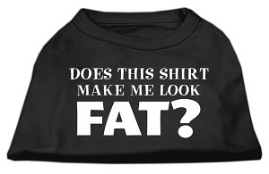 Does This Shirt Make Me Look Fat? Screen Printed Shirt Black Lg
