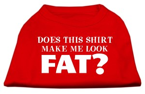 Does This Shirt Make Me Look Fat? Screen Printed Shirt Red XS