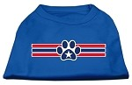 Patriotic Star Paw Screen Print Shirts Blue Med