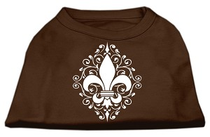 Henna Fleur de Lis Screen Print Shirt Brown XS (8)