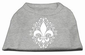 Henna Fleur De Lis Screen Print Shirt Grey Lg (14)