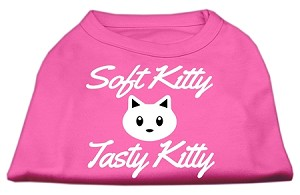 Softy Kitty, Tasty Kitty Screen Print Dog Shirt Bright Pink Sm (10)