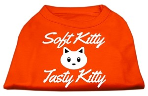 Softy Kitty, Tasty Kitty Screen Print Dog Shirt Orange XXL (18)