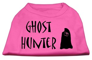 Ghost Hunter Screen Print Shirt Bright Pink with Black Lettering XS