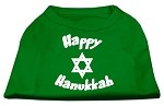 Happy Hanukkah Screen Print Shirt Emerald Green XS