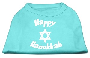 Happy Hanukkah Screen Print Shirt Aqua XS (8)