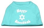 Happy Hanukkah Screen Print Shirt Aqua XS