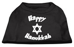 Happy Hanukkah Screen Print Shirt Black XS
