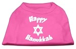 Happy Hanukkah Screen Print Shirt Bright Pink XS