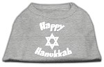 Happy Hanukkah Screen Print Shirt Grey XS