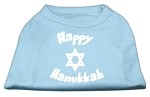 Happy Hanukkah Screen Print Shirt Baby Blue XS