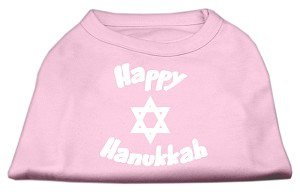 Happy Hanukkah Screen Print Shirt Light Pink XXL