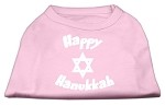 Happy Hanukkah Screen Print Shirt Light Pink XS