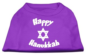 Happy Hanukkah Screen Print Shirt Purple Med (12)