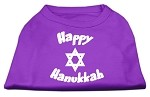 Happy Hanukkah Screen Print Shirt Purple XS