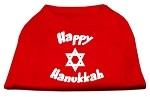 Happy Hanukkah Screen Print Shirt Red XS