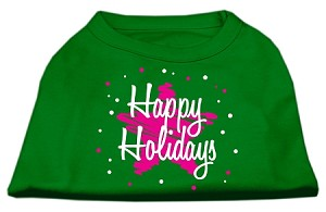 Scribble Happy Holidays Screenprint Shirts Emerald Green XS (8)
