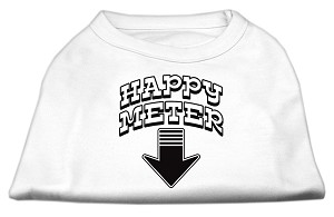 Happy Meter Screen Printed Dog Shirt White Med (12)