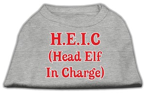 Head Elf In Charge Screen Print Shirt Grey Lg