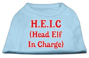Head Elf In Charge Screen Print Shirt Baby Blue XXL
