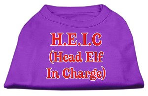 Head Elf In Charge Screen Print Shirt Purple Med