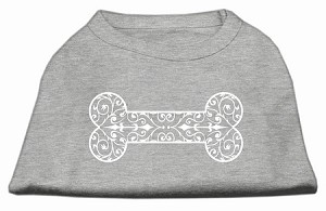 Henna Bone Screen Print Shirt Grey Lg (14)