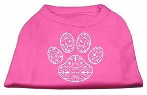 Henna Paw Screen Print Shirt Bright Pink Med (12)