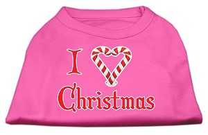 I Heart Christmas Screen Print Shirt Bright Pink Lg
