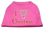I Heart Christmas Screen Print Shirt Bright Pink XS (8)