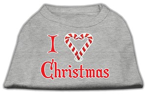 I Heart Christmas Screen Print Shirt Grey Sm