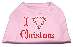 I Heart Christmas Screen Print Shirt Light Pink XS