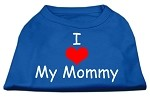 I Love My Mommy Screen Print Shirts Blue XS