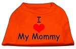 I Love My Mommy Screen Print Shirts Orange XS
