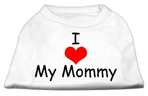 I Love My Mommy Screen Print Shirts White XS (8)