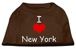 I Love New York Screen Print Shirts Brown Med