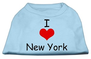 I Love New York Screen Print Shirts Baby Blue XXL
