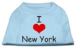 I Love New York Screen Print Shirts Baby Blue Med