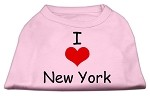 I Love New York Screen Print Shirts Pink Med
