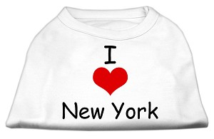 I Love New York Screen Print Shirts White XS (8)