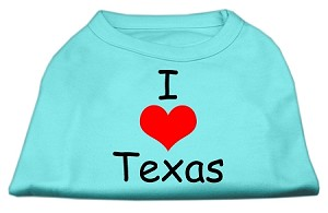 I Love Texas Screen Print Shirts Aqua Sm (10)