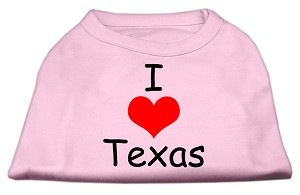 I Love Texas Screen Print Shirts Light Pink Lg