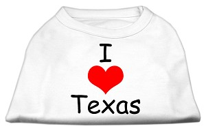 I Love Texas Screen Print Shirts White XS
