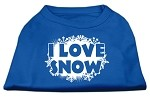 I Love Snow Screenprint Shirts Blue XS
