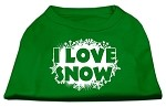 I Love Snow Screenprint Shirts Emerald Green XS