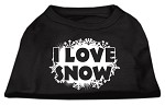 I Love Snow Screenprint Shirts Black XS
