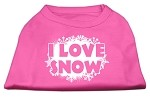 I Love Snow Screenprint Shirts Bright Pink XS