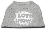 I Love Snow Screenprint Shirts Grey XS